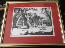 LIMITED EDITION FRAMED GLAZED PENCIL PRINT SIGNED M. M. PARKER KAI JINJA TARUMI